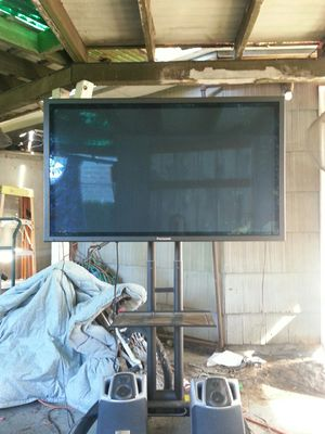 """Panasonic 55"""" Monitor mounted on rolling cart for Sale in Portland, OR"""