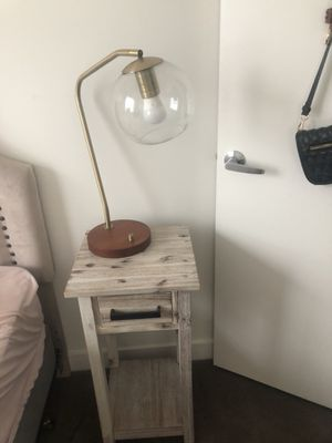 Rustic wood tan on the small side end table with black handled drawer! for Sale in Chelsea, MA