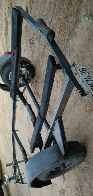 Title in hand PTI permanent plates Boat jetski trailer 16ft long from tongue to back New tires utility trailer rzr atv quad dirt bike landscape for Sale in Fontana, CA