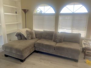 Free couches, 1 light grey micro-suede (sectional) w/ ottoman & one loveseat reclining couch for Sale in Hayward, CA