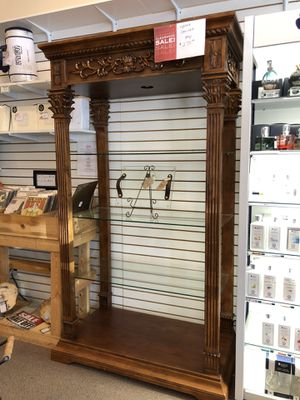 Wood glass shelf cabinet tall curio with lighting for Sale in Orlando, FL