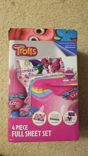 Brand New 4 piece TROLLS show me a smile FULL SHEET SET for Sale in Riverview, FL