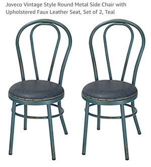 Vintage Style around Metal Side Chair with Upholstered Faux Leather Seat, set of 2, Teal for Sale in Herndon, VA