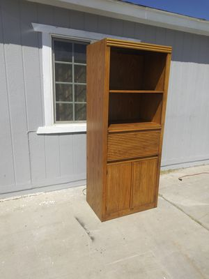 Huge Beautiful heavy duty Oak shelf bookcase entertainment center storage dresser for Sale in Las Vegas, NV