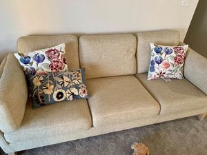 World market sofa with ottoman and throw pillows for Sale in Colorado Springs, CO