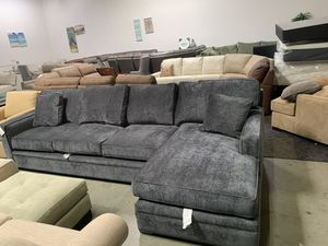 Kenley Chimney Charcoal Grey Brekton 2 Piece fabric sectional couch for Sale in Corona, CA