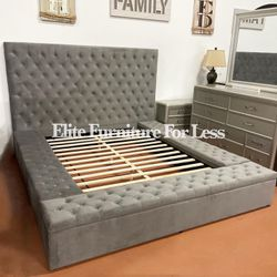 Queen Gray (Velvet like) Fabric Bed Frame W/ Storage for Sale in San Diego,  CA