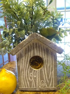 Birdhouse flower pot with artificial greenery for Sale in Houston, TX