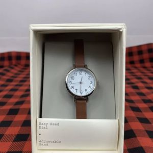 A New Day Easy Read Dial Adjustable Band Watch Womans Brown Free Shipping for Sale in Peoria, IL