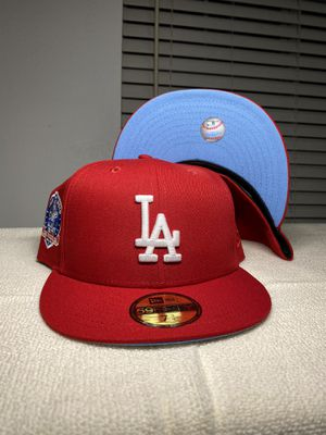 Los Angeles Dodgers Red New Era 5950 Fitted Icy Blue UV 60th Anniversary Patch Hat Club Exclusive for Sale in Carson, CA