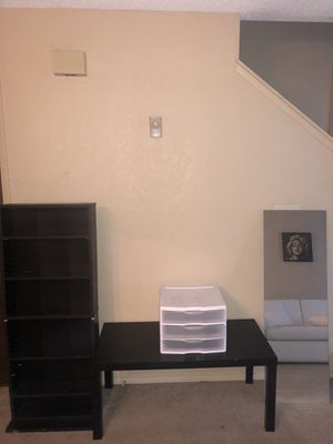 IKEA black bookcase or cd dvd, Black ikea table 3 white plastic drawer and 4foot-no mirror for Sale in Seattle, WA