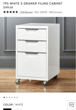 CB2 White 3 drawer filing cabinet  for Sale in Los Angeles, CA