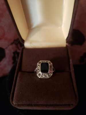 63/4 sz. Solid silver and black onyx Marcasite..vintage for Sale in Meriden, CT