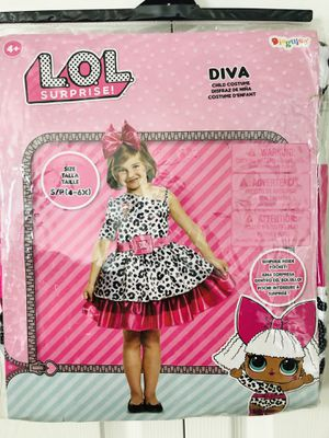 Brand new in package Diva LOL surprise Dolls Glittery costume size S/P (4-6X) pick up only) for Sale in Springfield, VA