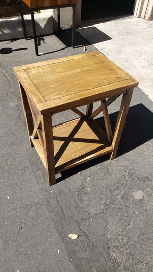 Small wood side table end table night stand with storage shelf underneath for Sale in Long Beach, CA