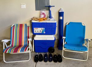 Beach Umbrella, folding chairs, coolers, water tubes, water shoes for Sale in Beaverton, OR