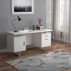 Modern High Glossy White Writing Desk with Silver Frame for Sale in Hacienda Heights,  CA