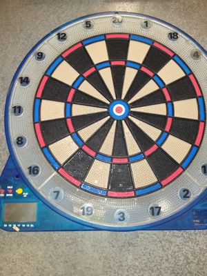 Blue light up score keeping multi game plastic dart board for Sale in Fremont, CA