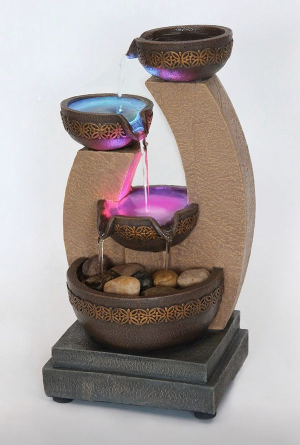 Gold Tiered Color Changing LED Fountain