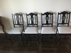 Set of 4 wood upholstered dining chairs for Sale in Chicago, IL