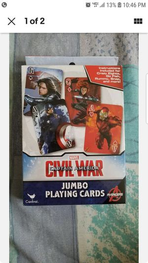 MARVEL AVENGERS Captain America Civil War Jumbo Playing Cards New for Sale in Albertson, NY