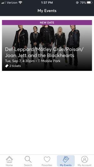 Def leppard/mötley crüe/joan jett/Poison/the blackhearts tickets for Sale in Ashford, WA