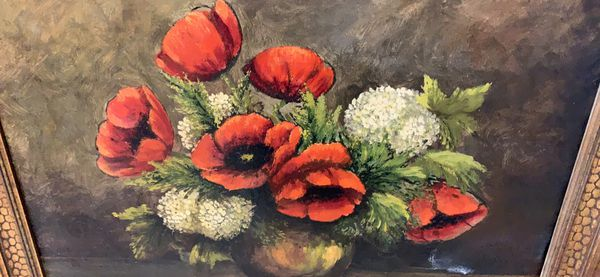 Vintage framed painting of flowers