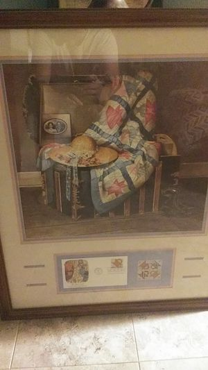 Framed art with. Matching stamps/envelope for Sale in Glastonbury, CT