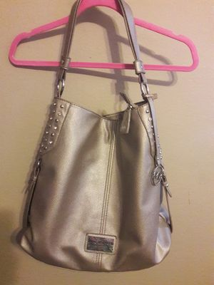 """ANDREW MARC """"MARC NEW YORK"""" LARGE METALLIC BEIGE SILVER/JEWELED HOBO SHOULDER BAG for Sale in Anaheim, CA"""
