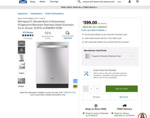 Whirlpool 51-Decibel Built-In Dishwasher (Fingerprint-Resistant Stainless Steel) (Common: 24-in; Actual: 23.875-in) ENERGY STAR for Sale in Monterey Park, CA