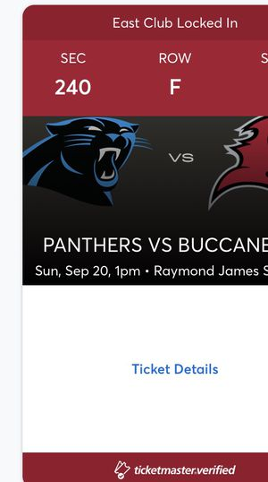 2020 Buccaneers home opener VS Carolina Panthers on September 20th for Sale in Tampa, FL