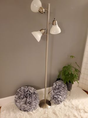 NEW silver lamp & 2 grey NEW pillows for Sale in Cranston, RI