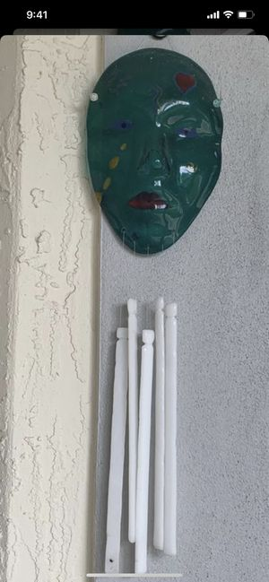 """glass handcrafted mask wind chime, approx from top to bottom 17"""" , good condition for Sale in Hobe Sound, FL"""