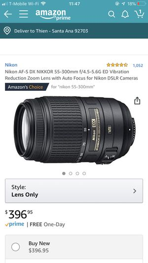 Nikon AF-S DX NIKKOR 55-300mm f/4.5-5.6G ED Vibration Reduction Zoom Lens with Auto Focus for Nikon DSLR Cameras for Sale in Santa Ana, CA