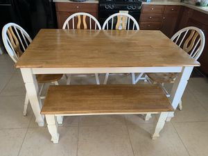 Kitchen table 4 chairs and bench for Sale in Victorville, CA