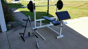 300 lb olympic weight set with bench for Sale in Wadsworth, OH