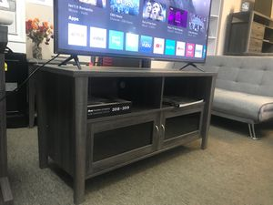 Melina 2 Glass Door TV Stand up to 55in TVs, Distressed Grey for Sale in Costa Mesa, CA