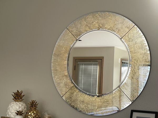 Golden Wood And Glass Entry Way Console With Mirror