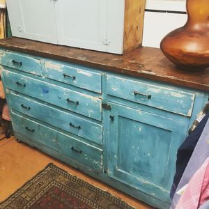 """Antique farm cabinet/workbench. It's on wheels and easy to move. Solid natural wood top. 5' long x roughly 40"""" tall. It was a built-in, converted to for Sale in Portland, OR"""