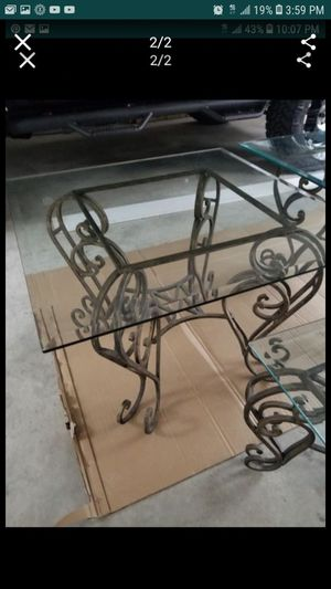 Side table glass/ iron (bronze color) for Sale in Leesburg, VA