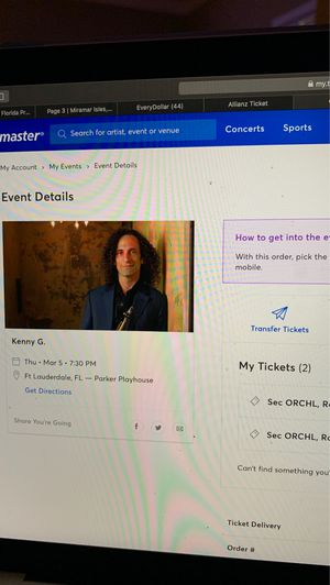 2 Kenny G Tickets for sale for Sale in Tamarac, FL