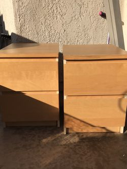 Ikea MALM 2-drawer chest, stained oak veneer both have been used regularly, so there are signs of wear and tear. I paid 80 for both new. for Sale in Huntington Beach,  CA