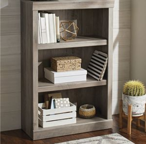 New!! Bookcase, bookshelves, organizer, storage unit, 3 shelf bookcase, living room furniture, entrance furniture, shelving display, rustic gray for Sale in Phoenix, AZ