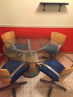 Kitchen set (glass table + 4 matching chairs) for Sale in Iowa City,  IA