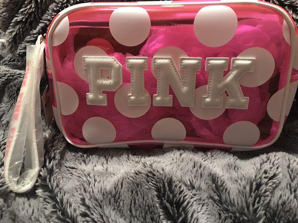 Victoria's Secret Pink polka dot beauty bag wristlet NEW
