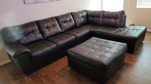 Leather sofa sectional with ottoman for Sale in Boynton Beach, FL
