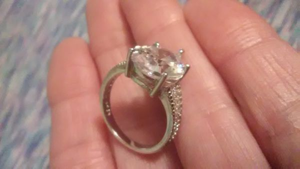 Size 6, 5 carat white sapphire 18K white gold over 925 Sterling engagement/wedding ring