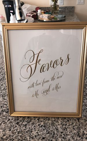 Gold frame wedding sign for Sale in San Diego, CA