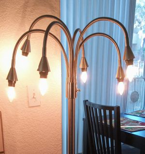 Brushed nickel floor lamp with 6 heads, adjustable arms and three light settings for Sale in Peoria, AZ