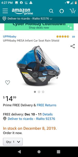 Uppababy mesa infant car seat rain shield for Sale in Rialto, CA